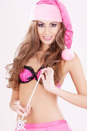 sexy santa helper girl with magic wand Stock Photo - 5685297
