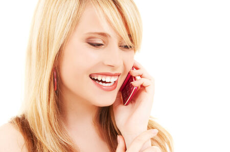 portrait of happy girl with pink phone Stock Photo - 5685108