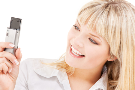 picture of happy woman using phone camera Stock Photo - 5677153