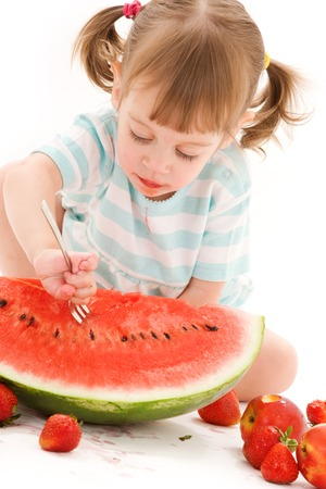 picture of little girl with strawberry and watermelon Stock Photo - 5685080