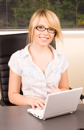 picture of office girl with laptop computer Stock Photo - 5685016