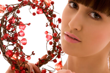 portrait of lovely woman with red ashberry Stock Photo - 5685098