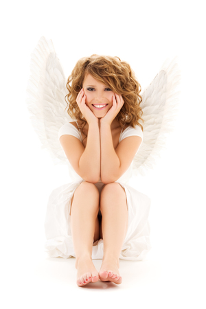 picture of happy teenage angel girl over white Stock Photo - 5668888