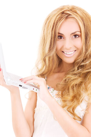 picture of happy woman with laptop computer Stock Photo - 5685349