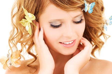 picture of teenage girl with butterflies over white Stock Photo - 5685363