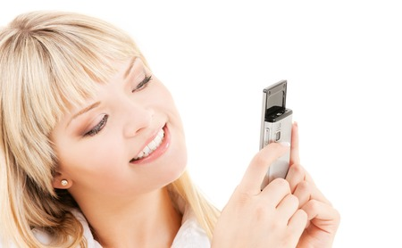 picture of happy woman with cell phone Stock Photo - 5668941
