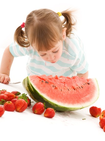 picture of little girl with strawberry and watermelon Stock Photo - 5668934