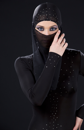 picture of ninja woman in the dark Stock Photo - 5677129