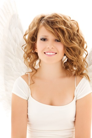 picture of happy teenage angel girl over white Stock Photo - 5685249