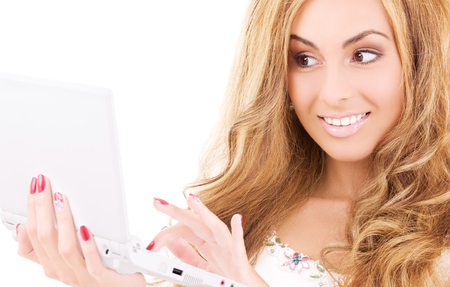 picture of happy woman with laptop computer Stock Photo - 5685058