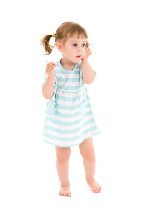 picture of little girl with cotton sticks over white Stock Photo - 5668670