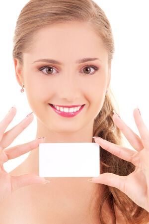 happy girl with business card (focus on hands) Stock Photo - 5677172