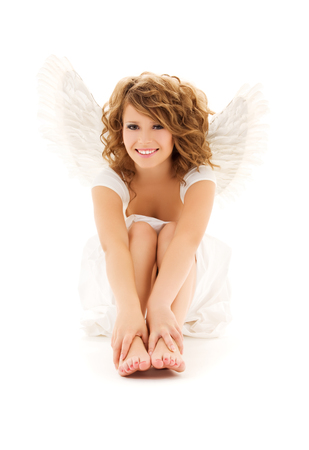 picture of happy teenage angel girl over white Stock Photo - 5668773