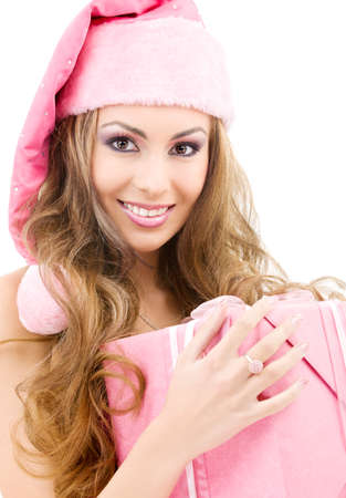 picture of happy santa helper with gift box Stock Photo - 5685139