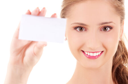 picture of happy girl with business card Stock Photo - 5676868