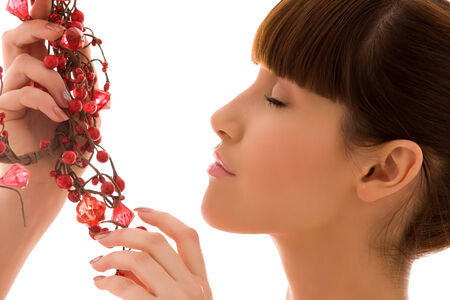 portrait of lovely woman with red ashberry Stock Photo - 5685093
