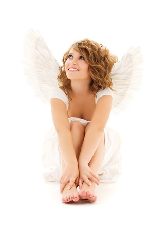 picture of happy teenage angel girl over white Stock Photo - 5668816