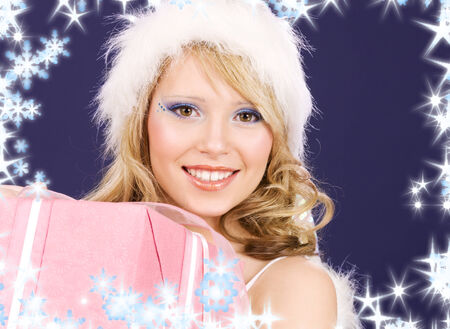 picture of happy santa helper with gift box Stock Photo - 5685006