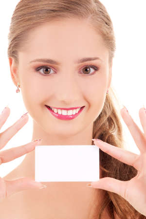happy girl with business card over white Stock Photo - 5685198