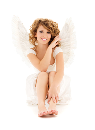 picture of happy teenage angel girl over white Stock Photo - 5668857