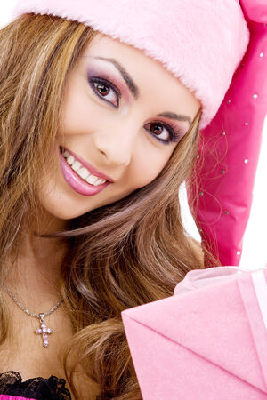 picture of happy santa helper with gift box Stock Photo - 5685371