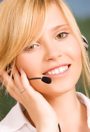 bright picture of friendly female helpline operator Stock Photo - 5677124