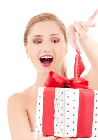 happy girl with gift box over white Stock Photo - 5668931