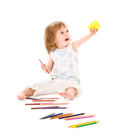tot: picture of little girl with color pencils over white