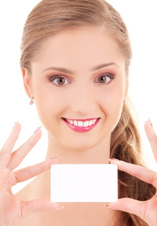 happy girl with business card over white Stock Photo - 5685071
