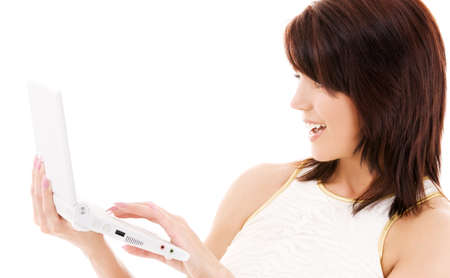 picture of happy woman with laptop computer Stock Photo - 5676912