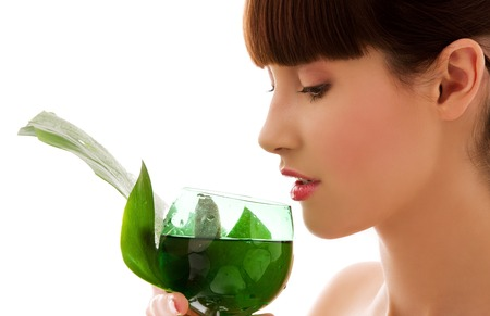 picture of woman with green leaf and glass of water Stock Photo - 5676910
