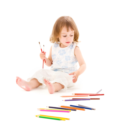 picture of little girl with color pencils over white Stock Photo - 5668680