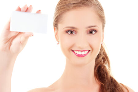 happy girl with business card over white Stock Photo - 5677008