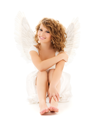 picture of happy teenage angel girl over white Stock Photo - 5668844