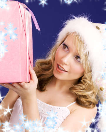 picture of happy santa helper with gift box Stock Photo - 5685066