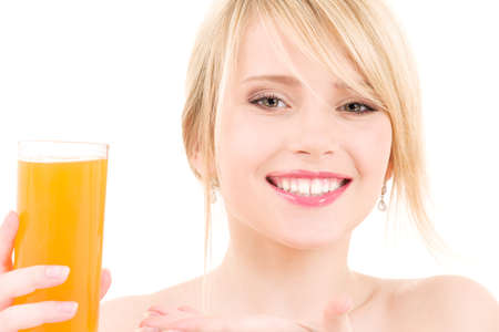 bright picture of lovely girl with glass of juice Stock Photo - 5677199