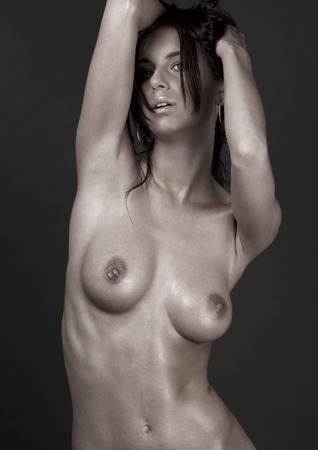 picture of beautiful naked woman over grey Stock Photo - 5668996