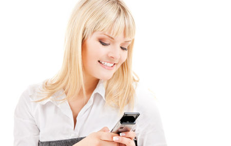 picture of happy woman with cell phone Stock Photo - 5668846