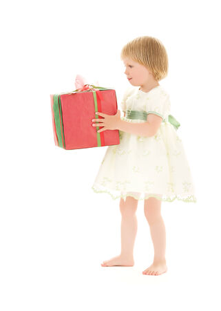 picture of girl with gift box over white Stock Photo - 5668698