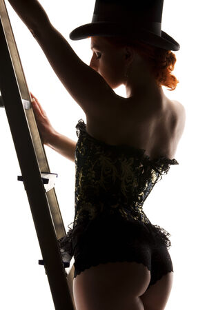 silhouette backlight picture of sexy woman with ladder Stock Photo - 5677123