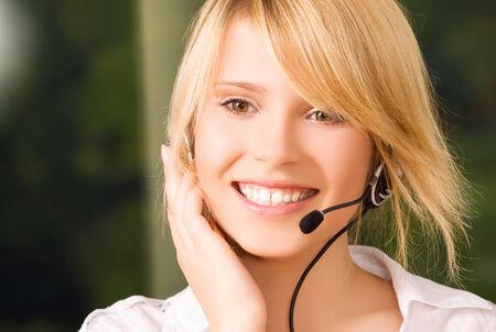 bright picture of friendly female helpline operator Stock Photo - 5685203