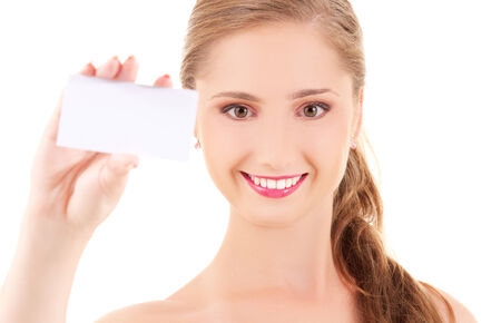happy girl with business card over white Stock Photo - 5676941