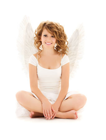 picture of happy teenage angel girl over white Stock Photo - 5668871