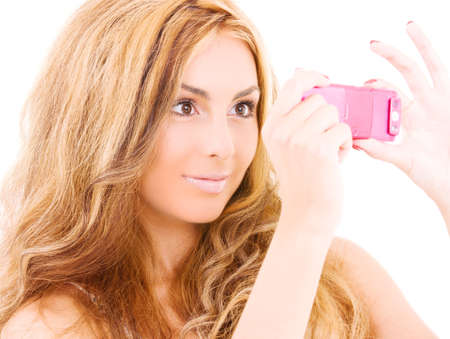 picture of happy woman using phone camera Stock Photo - 5685141