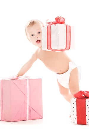 picture of baby boy with gifts over white Stock Photo - 5668746
