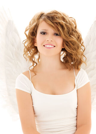 picture of happy teenage angel girl over white Stock Photo - 5676968
