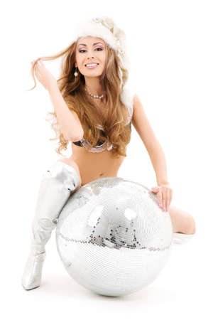 sexy santa helper with big disco ball over white Stock Photo - 5668994