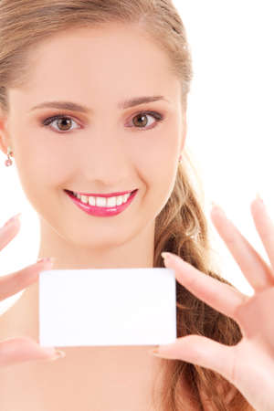 happy girl with business card over white Stock Photo - 5685074