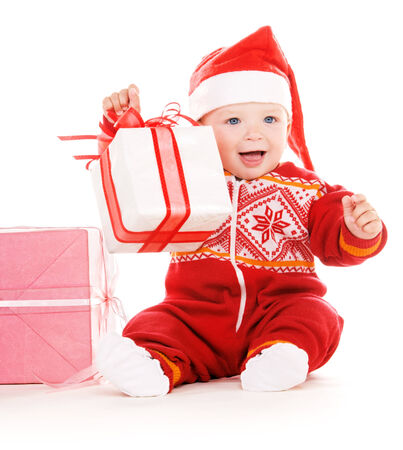santa helper baby with christmas gifts over white Stock Photo - 5668901