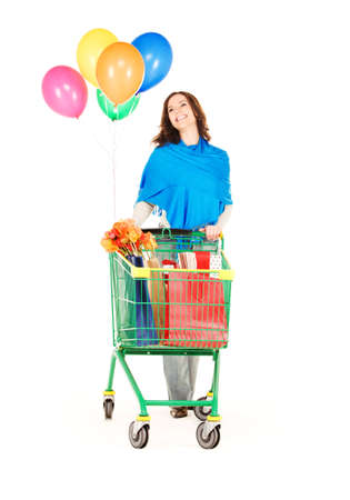 happy woman with shopping cart and balloons over white Stock Photo - 5668818